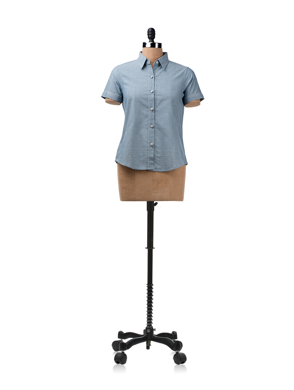 Blue Shirt With Contrasting Piping On The Button Placket - ENAH
