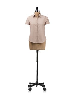 Brown Shirt With Contrasting Piping On The Button Placket - ENAH