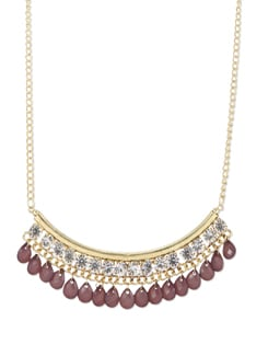 Maroon Stone Encrusted Gold Necklace - THE PARI