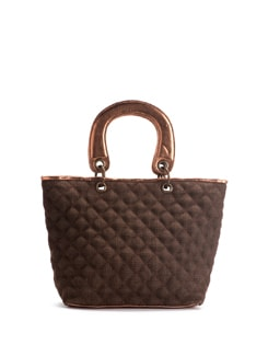 Brown Jute Bag With Copper Leatherette Trims - Ananaya