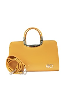 Yellow Chic Satchel With Metal Details - E2O