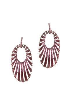 Pink & Purple Oval Danglers - CIRCUZZ