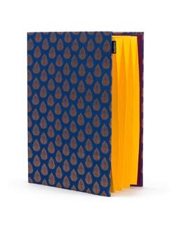 Blue Brocade Pocket Folder With Yellow Pockets - SUNDARBAN