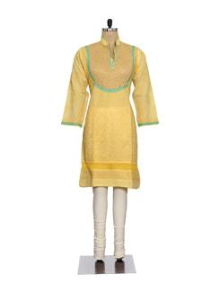 Chic Yellow Embroidered Kurta - Ada