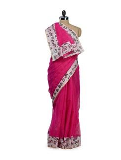 Hot Pink Tamil Print Saree - URBAN PARI