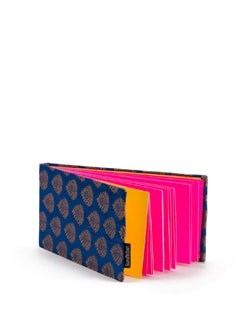 Blue Brocade Long Notebook With Pink Pages - SUNDARBAN
