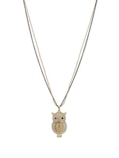 Crystal Studded Owl-shaped Pendant In Chain - YOUSHINE