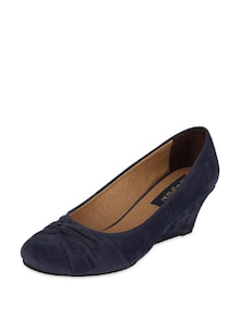 Blue Suede Wedges - Blue Button
