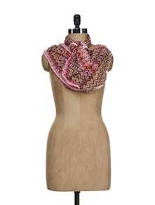 Lace Border Pink Snood - Ivory Tag