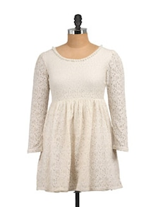 Lily Beige Skater Lacy Dress - STREET 9