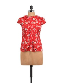 Emily Red Floral Top With Peterpan Collar - STREET 9