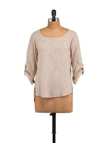 Nancy Beige Top With Roll-Up Sleeves - STREET 9