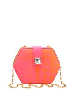 Orange & Pink Tie-Dye Hexagon Clutch - The Peacock Plume