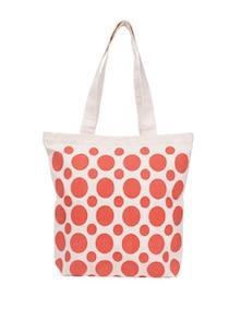 Orange Polka Print Canvas Tote Bag - Vogue Tree