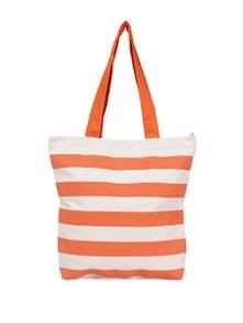 Orange Striped Canvas Tote Bag - Vogue Tree