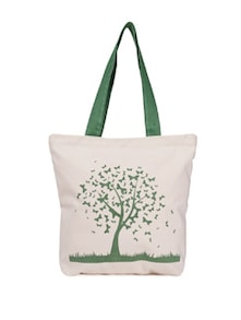 Green Tree Print Canvas Tote Bag - Vogue Tree