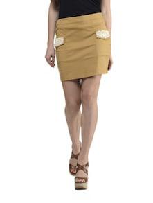 Beige Pearl Embroidery Skirt - Schwof