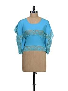 Blue Kaftan Top With Lace Details - Schwof