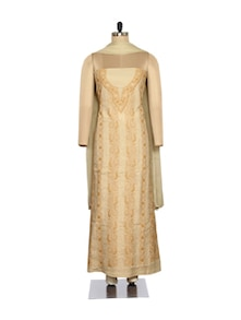 Chic Beige Embroidered Suit - Ada
