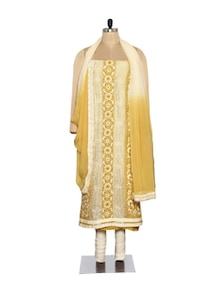 Elegant Cream Embroidered Suit - Ada