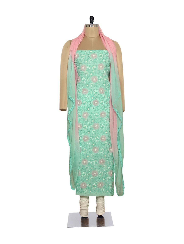 Aqua Green & Pink Embroidered Suit - Ada