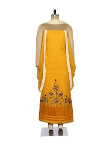 Chic Mustard Embroidered Suit - Ada