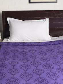 Purple Printed Double Bedcover - HOUSE THIS