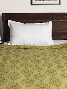 Green Printed Double Bedcover - HOUSE THIS