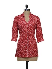 Elegant Red Printed Shirt - Kwardrobe