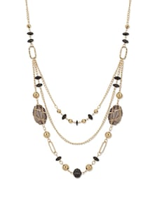 Black & Gold Beads & Bubbles Necklace - YOUSHINE