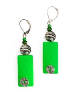 Neon Green Resin Bead Earrings - Eesha Zaveri; Jewellery By Design