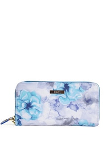 Floral Print Wallet In Soothing Blue - Toniq
