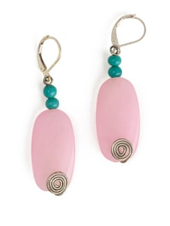 Pink And Sea Green Stone Earrings With Lever Style Clasp Closure - Eesha Zaveri; Jewellery By Design