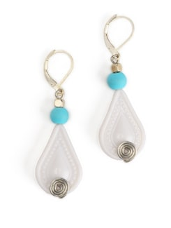 White And Blue Tear Drop Earrings With A Lever Style Clasp Closure - Eesha Zaveri; Jewellery By Design
