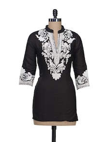Floral Embroidered Black Kurti - Stylechiks