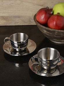 Set Of 2 Seamless Cup And Saucer - Arttd'inox