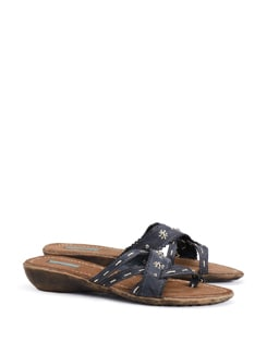 Faux Leather Slip On Sandals With Top Stitch Detail - CATWALK