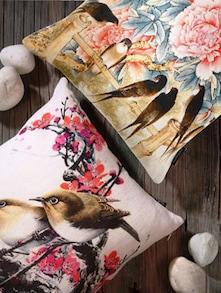 Bird Print Cushion Cover Set Of 2 - Belkado