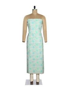 Turquoise-White Chikankari Unstitched Suit - Ada