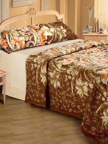 Floral Print Bedsheet In Light Brown - Belkado