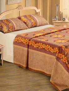 Floral Print Bedsheet In Brown - Belkado