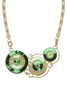Green & Gold Disc Pendant Necklace - YOUSHINE