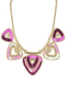 Pink & Gold Triangular Pendant Necklace - YOUSHINE