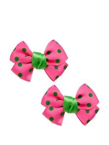 Pink And Green Polka Dot Bow Shaped Hair Clips - K22
