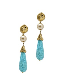 Textured Blue Stone Drop Earrings - Aradhyaa Jewel Arts