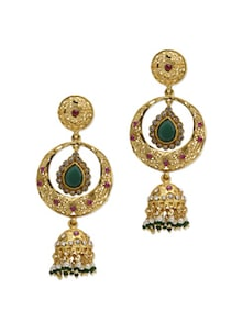 Jhumki Style Earrings With Emerald Drop - Aradhyaa Jewel Arts