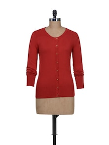 Rust Red Cardigan - Van Heusen