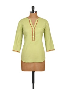 Lime Green Embroidered Shirt - Tops And Tunics