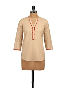 Beige Embroidered Shirt - Tops And Tunics