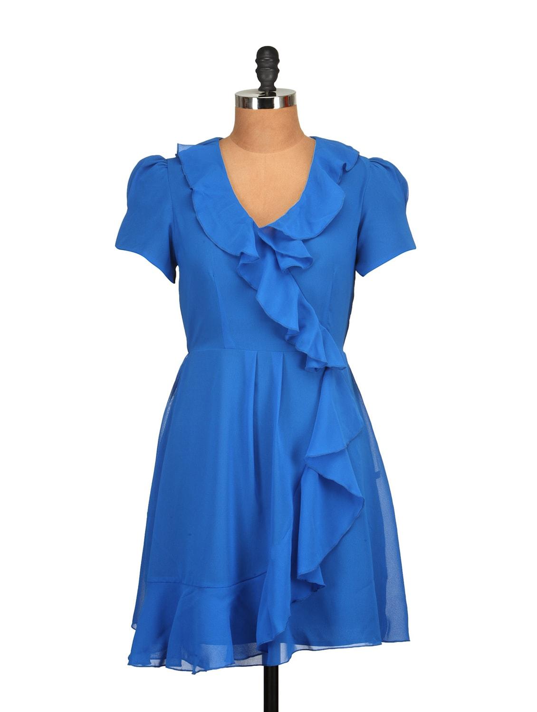 Royal Blue Ruffled Dress - Tops And Tunics